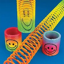 12x Rainbow Smiley Face Springs Slinky Boys Girls Party Bag Fillers Toys T65 013