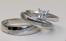 His and Her Diamond Engagement Bridal Wedding Band Trio Ring Set 14K White Gold