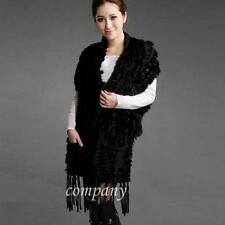 Top Quality Women's Rabbit Fur Tassel Scarf Shawl Cape Wrap Stole Poncho Sweater