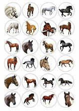24 Edible Horse / Horses Wafer / Rice Cupcake Topper Fairy Cake Bun Toppers