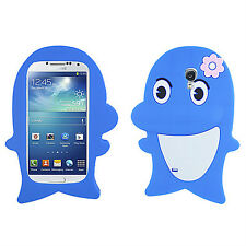 Samsung Galaxy S4 S IV Rubber SILICONE Skin Soft Case Phone Cover Blue Dolphin
