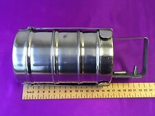 STEEL 3 TIER APPROX 9 CM DIA TIFFIN BOX CARRIER LUNCH BOX SIZE 7 x 3