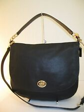 COACH 36762 Black Leather Turnlock Hobo Saddle Convertible Bag $350