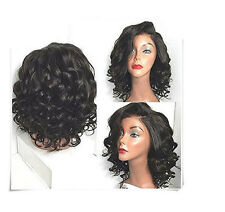 Women Fashion Black Wavy Curly Wigs Heat Resistant Hair Synthetic Mid-Long Wig