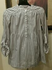 Michael Kors small blouse top gray striped button long sleeve roll tab tunic