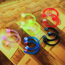 10x 16G Arcylic Horseshoe Barbell Labret Nose Lip Eyebrow Ear Ring HW