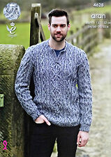 KNITTING PATTERN Mens Long Sleeve Open Neck Cable Jumper Aran KC 4628