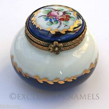 Limoges Dubarry Vintage Peint Main Cobalt Blue Bulged Base China Trinket Box
