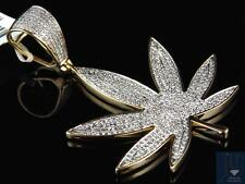 "10K Yellow Gold Mens Genuine Diamond Custom Marijuana Leaf Pendant 2"" (1.0 Ct)"