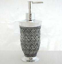 NEW SILVER DOTTED RESIN HEART PATTERN+REFLECTIVE MIRROR SOAP+LOTION DISPENSER