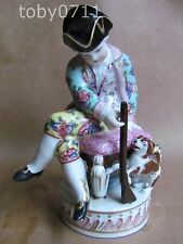 PARIS ? / DRESDEN ? PORCELAIN FIGURINE OF A BOY HUNTER AND HIS DOG (Ref1007)