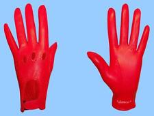 NEW WOMENS size 6.5 RED GENUINE LAMBSKIN - KID LEATHER DRIVING GLOVES