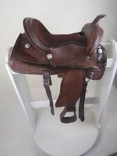 "YOUTH 10"" WESTERN PONY LEATHER SADDLE TRAIL PLEASURE DARK BROWN"