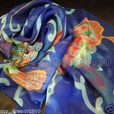 WOMEN Blue Colorful BUTTERFLY Print Georgette 100% SILK LONG SCARF SHAWL WRAP