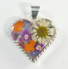 925 sterling silver small size heart pendant braided border & real flowers