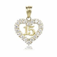 10K YELLOW GOLD CZ Sweet 15 Heart Pendant - Quinceanera Anos Birthday Necklace