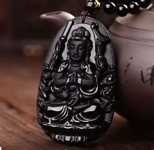 100% Natural obsidian hand-carved exquisite Guanyin exorcism pendant necklace W