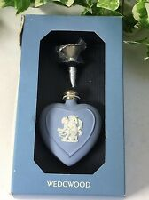 Beautiful Vintage Wedgwood Blue Jasper Ware Cupid Heart Shaped Perfume Bottle