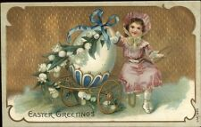 Easter - Little Girl in Dress - Giant Decorated Egg c1910 Postcard