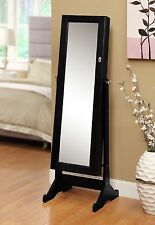 JEWELRY ARMOIRE with MIRROR and STAND Tilting Adjusting Safe Storage Necklaces+