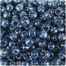 500 Montana Blue Transparent 9x6mm Barrel Pony Beads Made in the USA