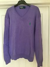 Ralph lauren homme lilas coton pima col v pull taille m