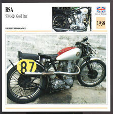 1938 BSA 500cc M24 Gold Star (496cc) Motorcycle Photo Spec Sheet Info Stat Card