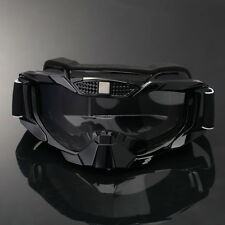 Black Motorcycle Motocross MX Dirt Bike Off Road Riding Cruiser Helmet Goggles