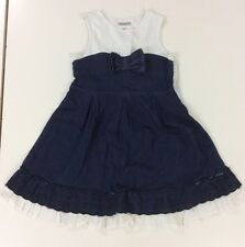Girls Mayoral Super Cool Denim And Cotton Dress In Blue And White Age 8