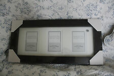 """New BHS Maison Living 3 aperture dark wood box picture frame 22.75"""" x 10.75"""""""