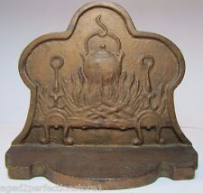 Old Cast Iron Fireplace Hearth Doorstop andirons kettle pot firewood bookend