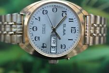 MEN'S GOLD-PLATED BIG MECH/AUTO USSR SLAVA WATCH 27 JEWELS; DOUBLE CALENDAR!