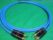 3 Ft Pair Canare L4E6S Blue Star Quad RCA to RCA HIFI Audio Cable.