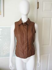 NWT Baccini Faux LEATHER VEST Size SMALL Zip Up Snap Close CAMEL Brown LINED $64