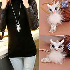 Fox Pendant Rhinestone Inlaid Fur Necklace Long Sweater Chain Nimble