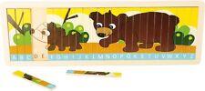 """Puzzle in legno """"Impara l'alfabeto con famiglia orsi"""", orsetto mamma orsa"""