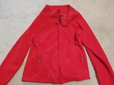 Land's End Women's Red Zipper Cardigan L 14-16 NWOT