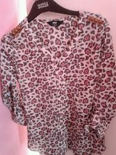 Leopard Print Pink Sheer Blouse Fitted Style Top Military Style Shirt -10 S - M