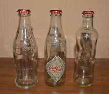 Coca Cola 125 Anniversary Limited Edition 3 empty Glass Bottles Croatia Issued