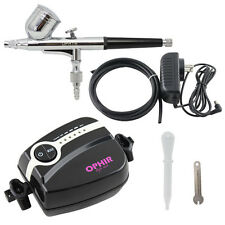 OPHIR Mini Air Compressor Dual Action Airbrush Spray Kit Tattoo Machine