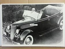 "12 By 18"" Black & White PICTURE 1936 Ford Phaeton with President Roosevelt FDR"