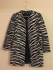 Zara Woman Coat Jacket Long Sleeved Size S Black White Zebra Print Jacquard Coat