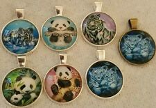 PANDA OR BABY TIGER 3D GLASS PENDENTS WITH 20 INCH SILVER CHAIN