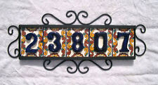 5 Mexican BLUE House Numbers Tiles with HORIZONTAL Iron Frame