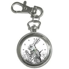 White Rabbit Alice In Wonderland I'm Late Key Ring Chain Watch