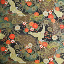 Crane Floral Black Japanese Cotton Fabric Per Half Metre 50cm - TG41