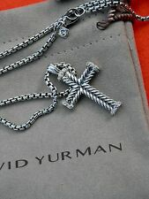 "David Yurman Men's Sterling Silver Chevron Cross w/White Diamonds 22"" Chain"
