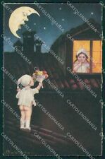 Colombo Art Deco Children Paper Moon serie 1907 postcard cartolina QT6533
