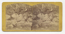 Ca. 1870's STEREOVIEW: MEN BY ROCKS IN FRONT BY CAVE, LANCASTER COUNTY, PA