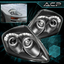For 00-05 Eclipse Spyder Halo Led Projector Head Light Black Housing Clear Lens